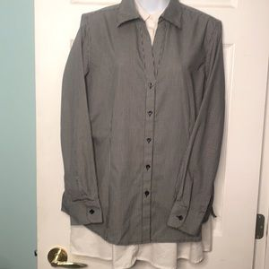 Foxcroft Wrinkle Free Button Down Black and White Blouse